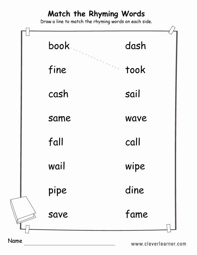Rhyming Words Worksheet for Kindergarten Ideas Rhyme Words Matching Worksheets for Kindergarten and
