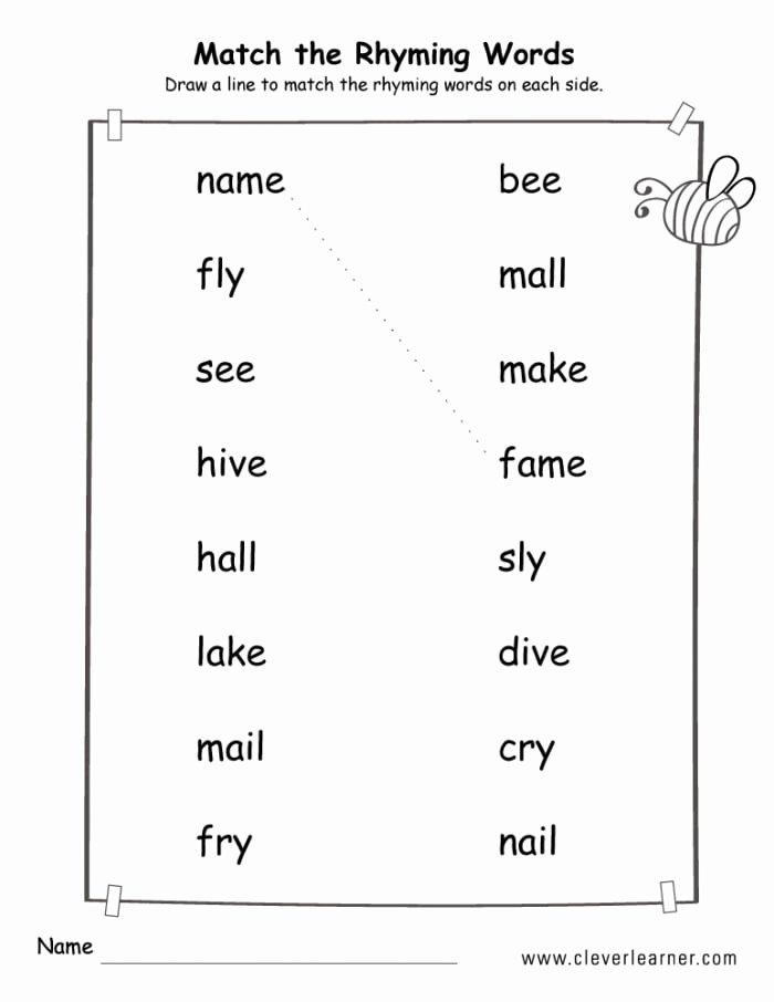 Rhyming Words Worksheet for Kindergarten Printable Matching Rhyming Words Worksheets