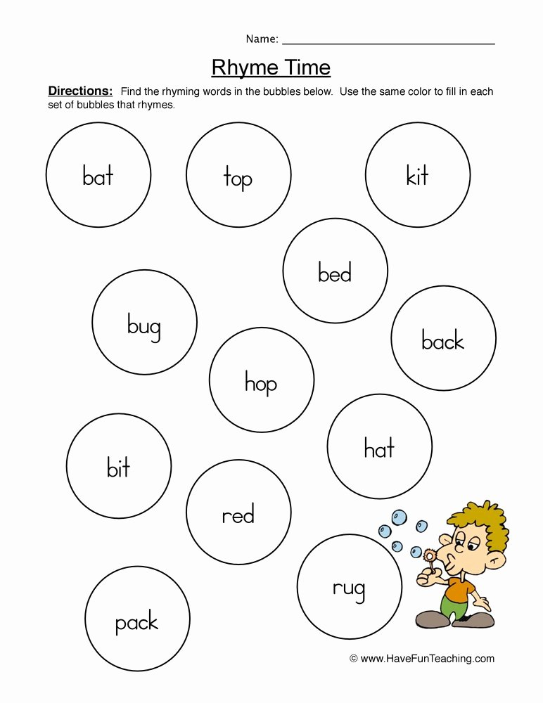 Rhyming Words Worksheets for Kindergarten New Rhyming Words Pairs Worksheet