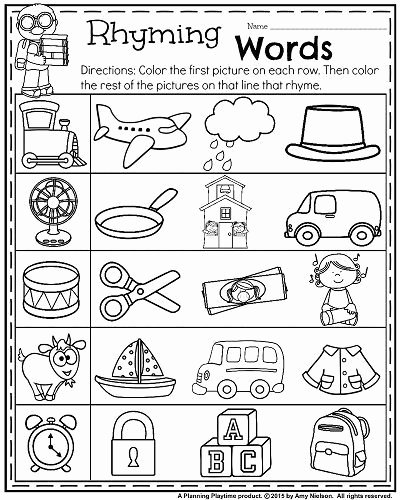 Rhyming Words Worksheets for Kindergarten Printable Back to School Kindergarten Worksheets Planning Playtime