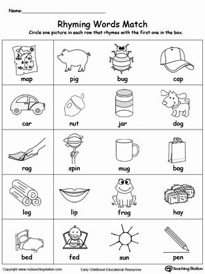 Rhyming Words Worksheets for Kindergarten top Rhyming Words Match