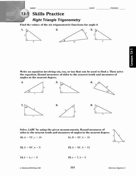 Right Triangle Trig Worksheet Answers Fresh 13 1 Skills Practice Right Triangle Trigonometry Worksheet
