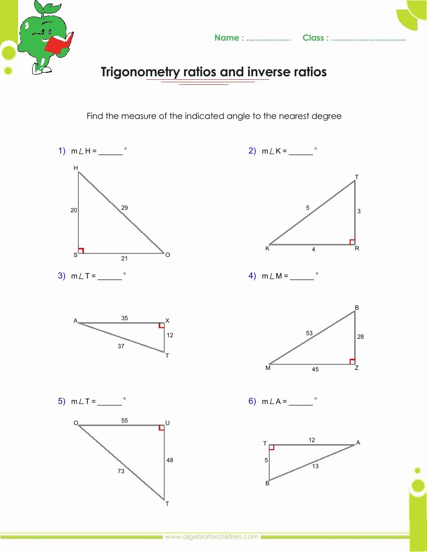 Right Triangle Trig Worksheet Answers Fresh Basics Trigonometry Problems and Answers Pdf for Grade 10