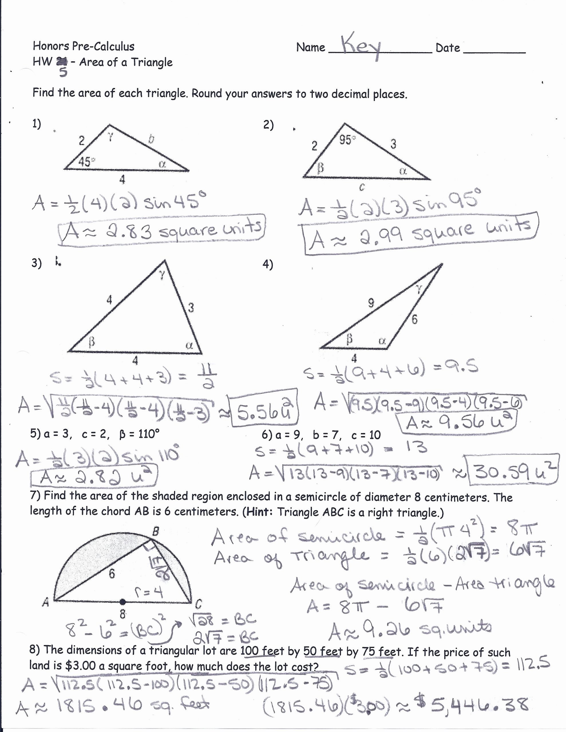 Right Triangle Trig Worksheet Answers Kids area A Triangle Using Sine Worksheet – Colabug
