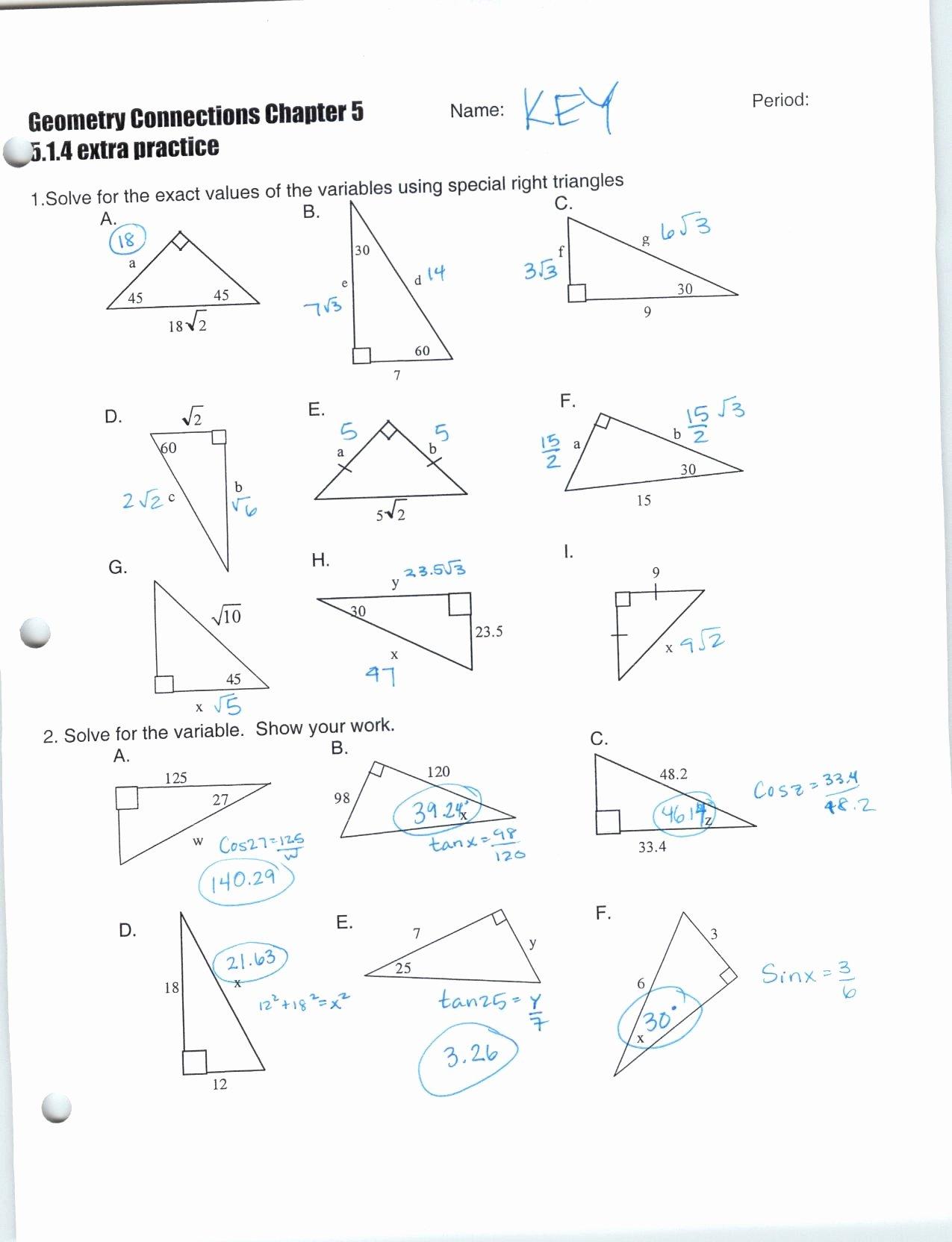 Right Triangle Trig Worksheet Answers Kids Basic Trigonometric Ratios Worksheets