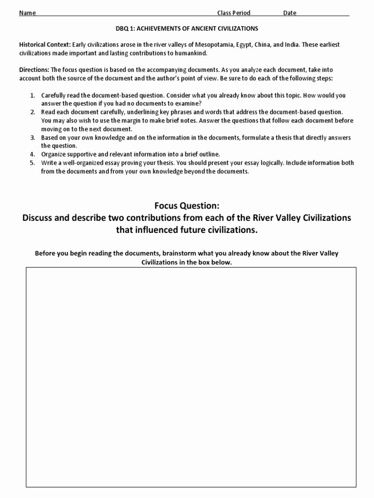 River Valley Civilizations Worksheet Answers Inspirational River Valley Civilizations Dbq Confucianism
