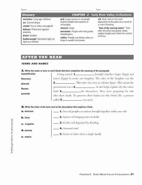 River Valley Civilizations Worksheet Answers Kids Chapter 2 Study Guide Early River Valley Civilizations Pdf