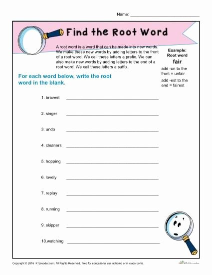 Root Word Worksheets 2nd Grade Ideas Find the Root Word Worksheet for 1st Grade