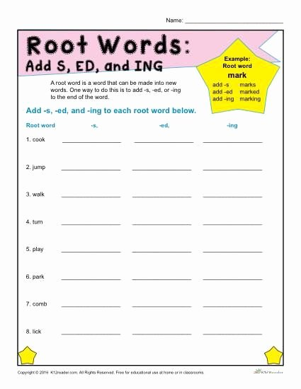 Root Word Worksheets 3rd Grade Fresh Printable Root Words Worksheets Add S Ed and Ing