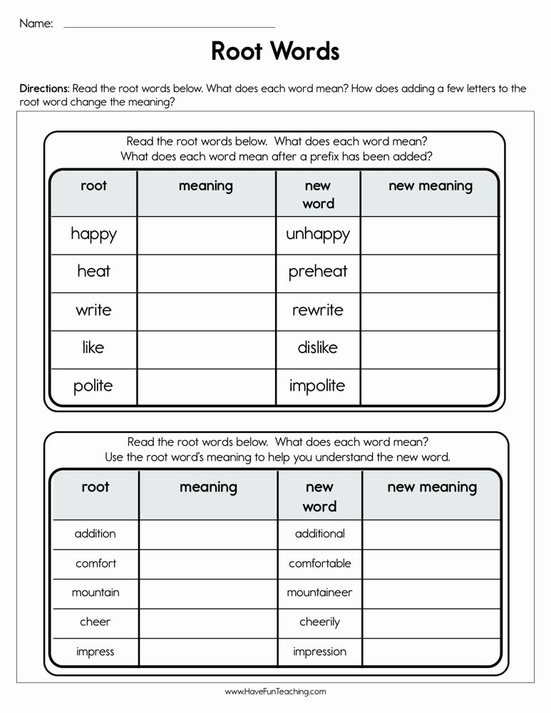 Root Word Worksheets 4th Grade New Root Words Worksheet