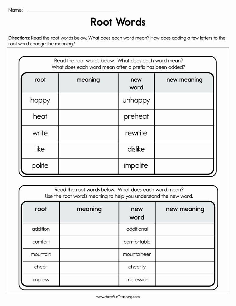 Root Words Worksheet 2nd Grade Fresh Root Words Worksheet