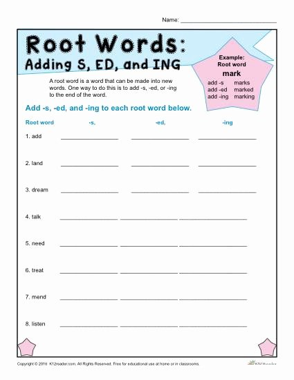 Root Words Worksheet 5th Grade Free Root Words Worksheets Adding and Ing to Kumon Reading Levels