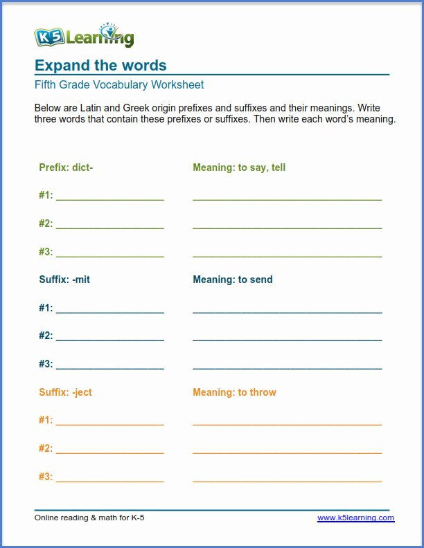 Root Words Worksheet 5th Grade Fresh New Grade Vocabulary Worksheets K5 Learning Word origins 5th
