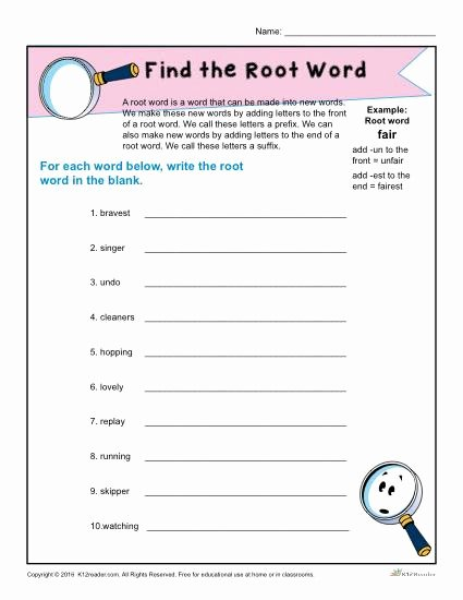 Root Words Worksheet 5th Grade Kids Find the Root Word Worksheet for 1st Grade
