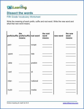 Root Words Worksheet 5th Grade Lovely Grade 5 Vocabulary Worksheets – Printable and organized by
