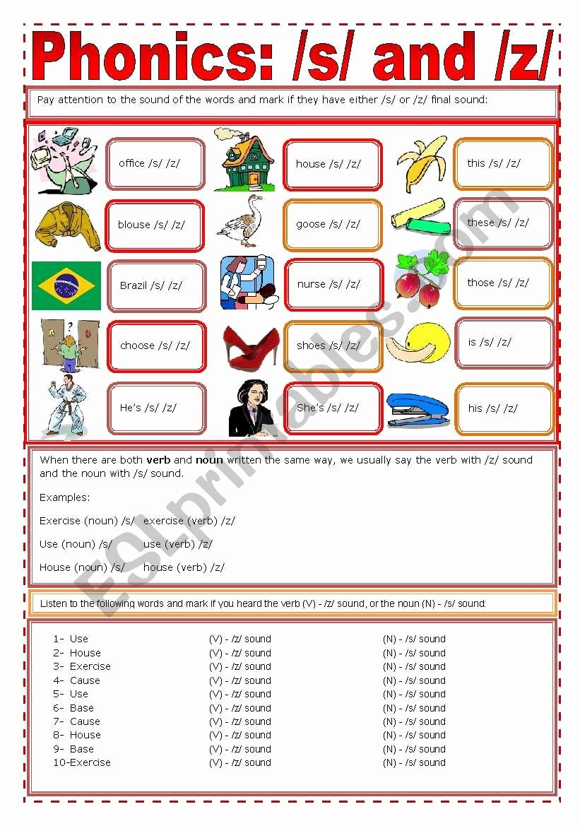 S and Z sounds Worksheets Free Phonics S Z Esl Worksheet by Zailda
