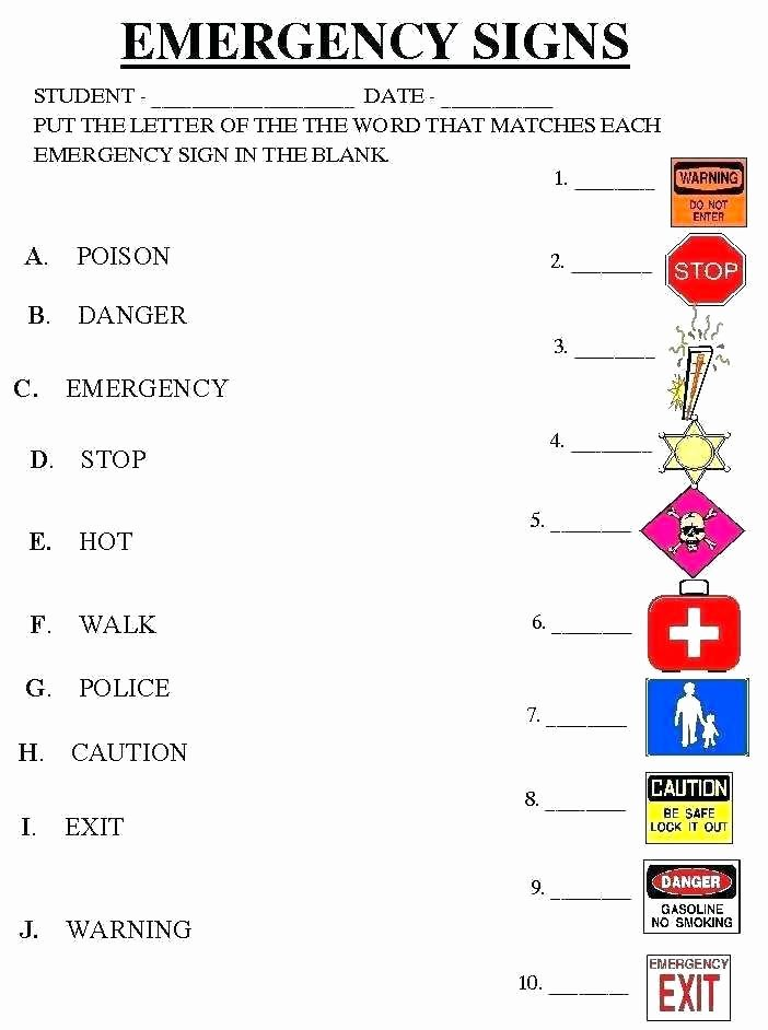 Safety Signs Worksheets for Kindergarten Best Of Free Printable Safety Worksheets Signs Traffic Science Grow