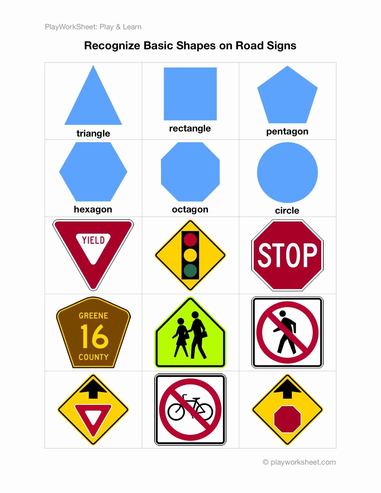 Safety Signs Worksheets for Kindergarten Best Of Recognize Basic Shapes On Road Traffic Signs