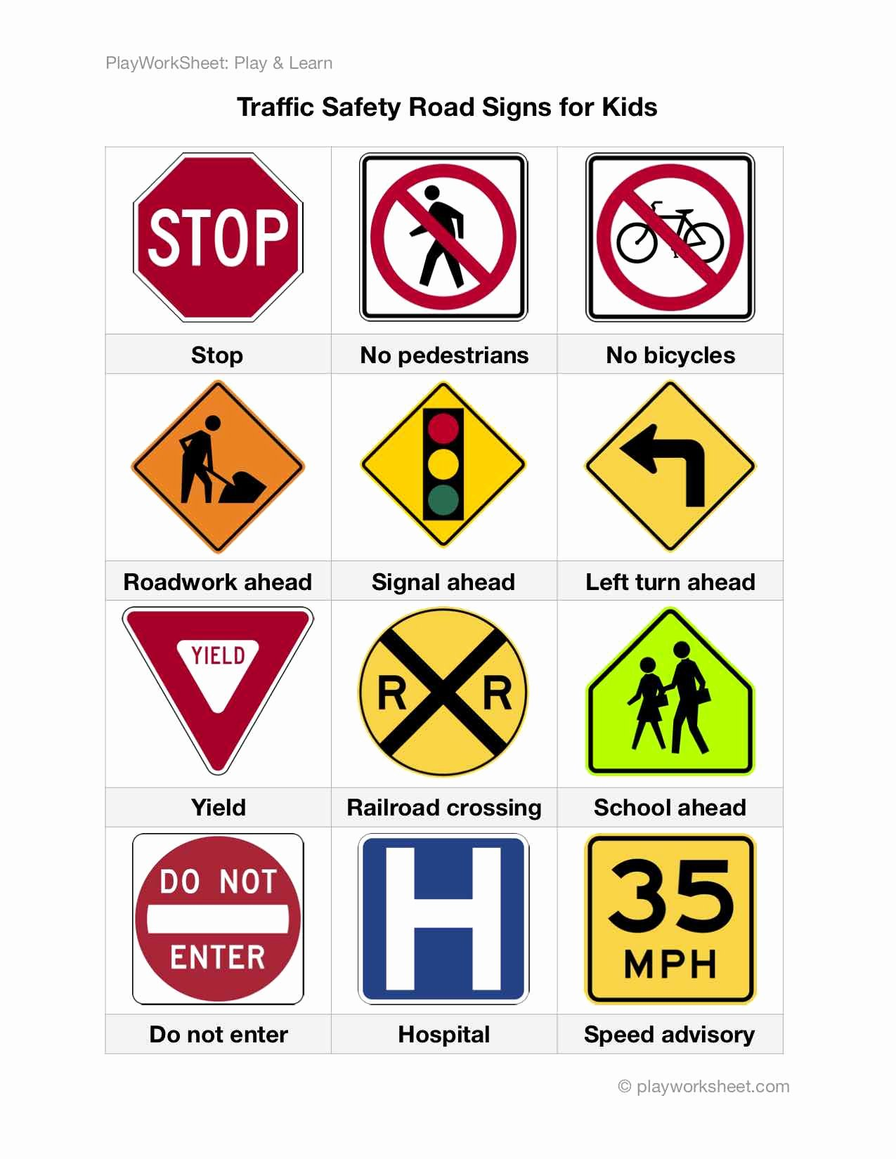 Safety Signs Worksheets for Kindergarten Best Of Road Traffic Safety Signs for Kids