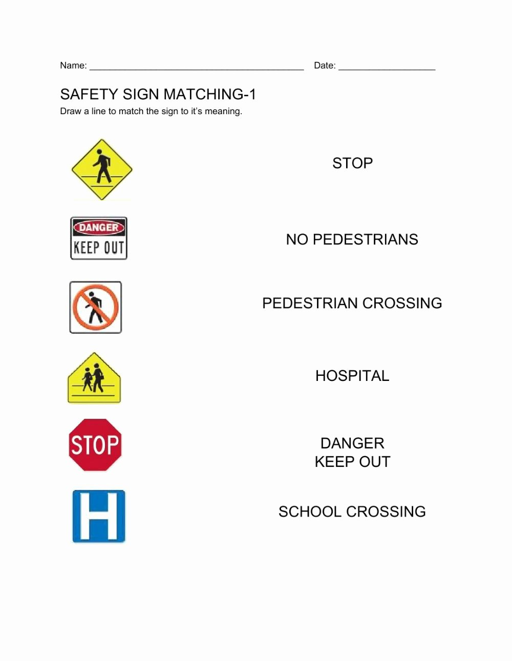 Safety Signs Worksheets for Kindergarten Best Of Safety Signs 1 Interactive Worksheet