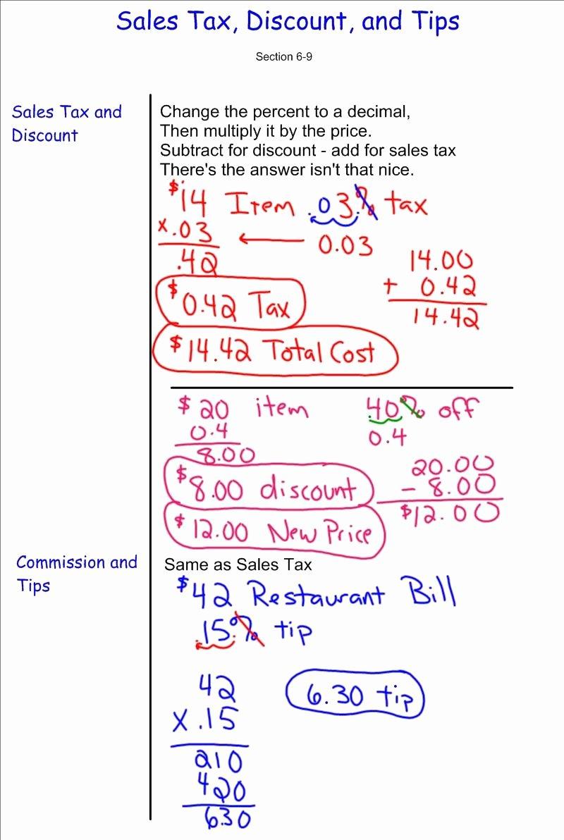 Sales Tax Worksheet 7th Grade Free Discount Sales Tax Tip 7th Grade Pre Algebra Mr Burnett