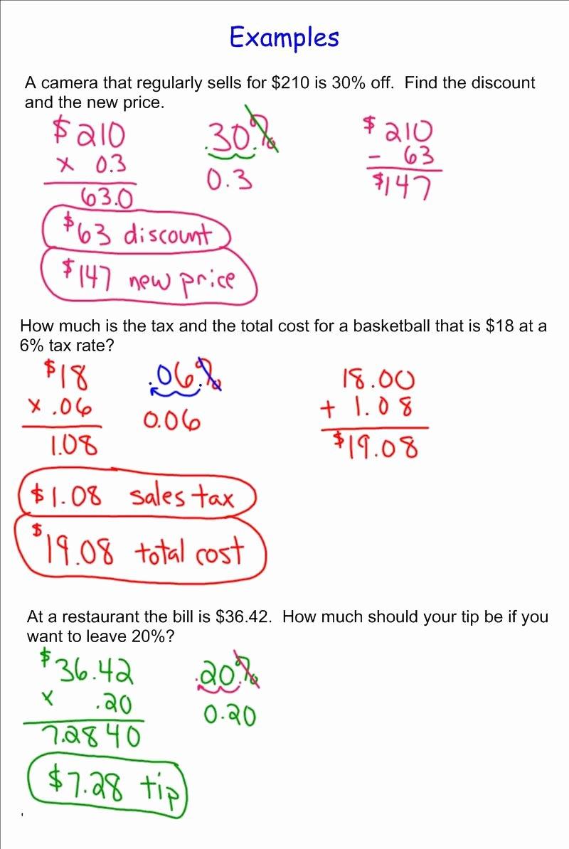 Sales Tax Worksheet 7th Grade Kids Percent Increase Discount Tax Tip Lessons Tes Teach