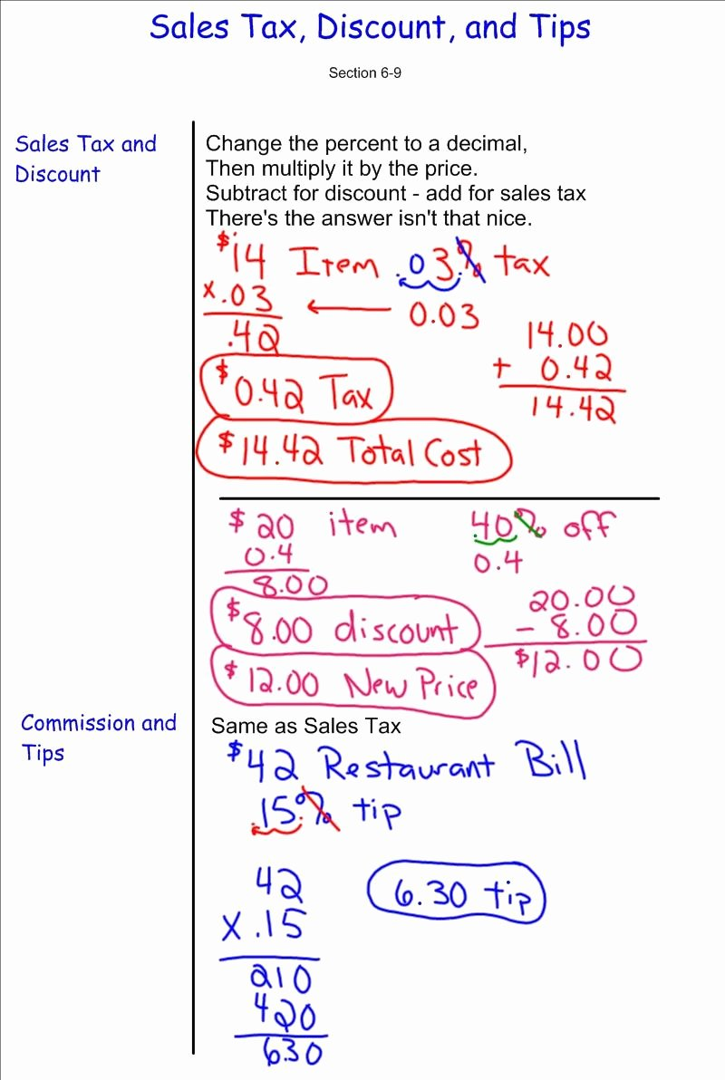 Sales Tax Worksheets 7th Grade Free Discount Sales Tax Tip 7th Grade Pre Algebra Mr Burnett