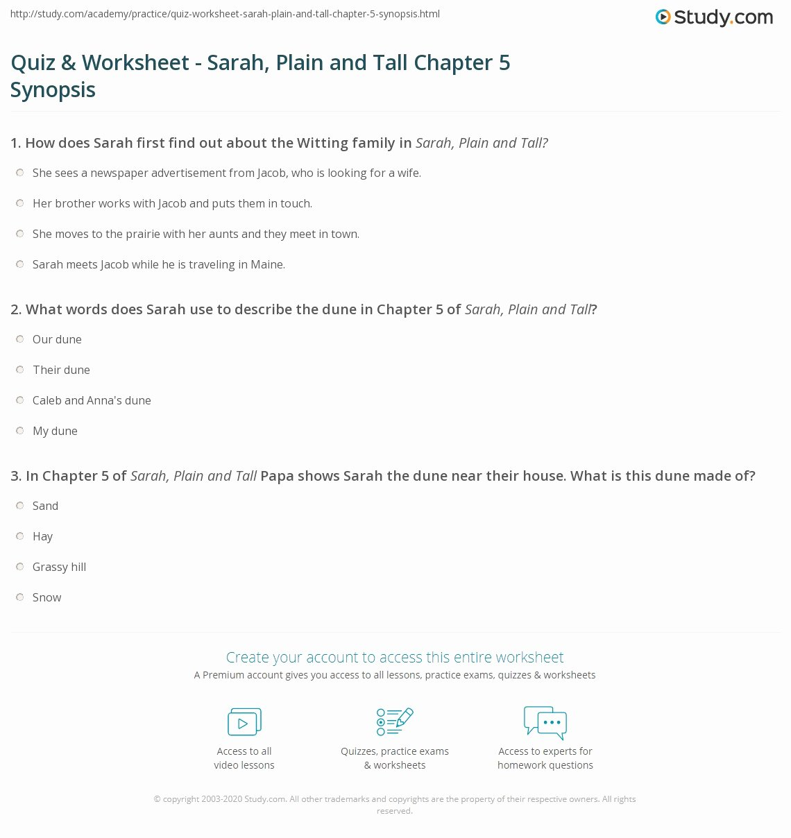 Sarah Plain and Tall Worksheet Ideas Quiz & Worksheet Sarah Plain and Tall Chapter 5 Synopsis