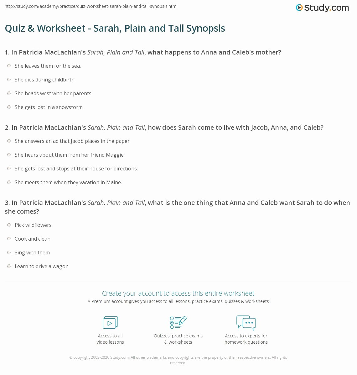 Sarah Plain and Tall Worksheet Kids Sarah Plain and Tall Worksheets
