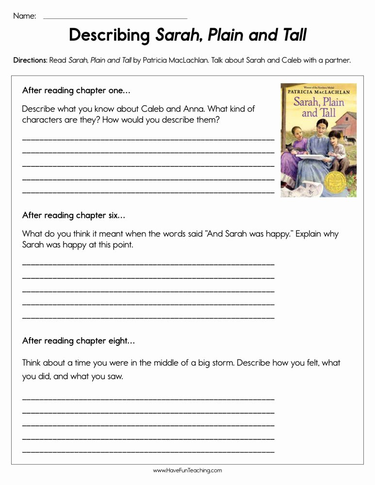 Sarah Plain and Tall Worksheet Lovely Describing Sarah Plain and Tall Worksheet